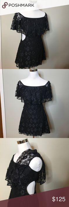 NEW For Love Lemons black lace off shoulder dress New For Love & Lemons black lace cut out sides, off shoulder dress. Zipper up back. Shoulder can be worn a couple different ways. Came in package from revolve clothing without tags. Moving and clearing out my closet! For Love and Lemons Dresses Mini
