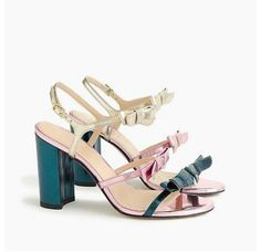 2e2165d1556 J.CREW COLLECTION STELLA BOW HEELS (100MM) IN METALLIC EMERALD SIZE 8M