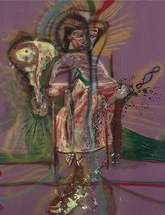Julian Schnabel, Resurrection: Albert Finney Meets Malcolm Lowry, 1984. Oil, spray paint, modeling paste on velvet, 120 x 108 inches