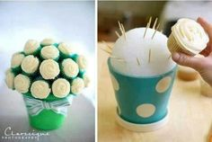 """I thought this was such an adorable idea, someone just posted the photo to my timeline! You must insert the toothpicks at a 45° Angle or the cupcakes may fall off. The styrofoam ball has a 5"""" diameter and holds 10 cupcakes. Cut green tissue paper into thin strips, fold accordion style and place it in between the cupcake """"flowers"""" to give the illusion of leaves. by therese"""
