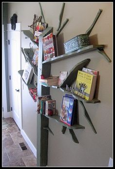 Tree book shelf for play room - uh, cool!