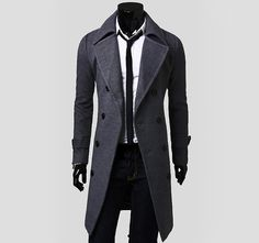 Turndown Collar Double-Breasted Design Long Sleeves Woolen Trench Coat