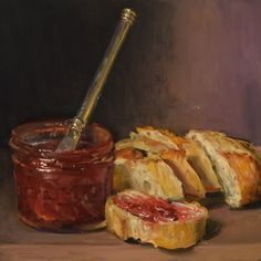 """Jam and Bread"" by Duane Keiser Still Life Drawing, Still Life Art, Food Painting, Surrealism Painting, Nature Drawing, Identity Art, Art Challenge, Pretty Art, Cute Food"