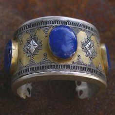 Lapis Lazuli Cuff with Gold Wash, Afghanistan- Kazakh via Etsy