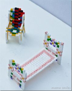 Who knew you could turn Perler beads into furniture? So cool!!! My kids will love to make furniture for dolls etc!