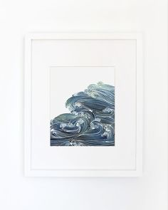 Ocean Waves in Blue and Green Watercolor by YaoChengDesign on Etsy