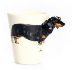 Blue Witch Ceramics   The O List   Pup on a Cup  Hand Crafted Ceramic Arts Blue Witch 3D Dog Mug - Dachshund Short-hair 3D dog mugs, Salt & Pepper Shakers, Picture holders