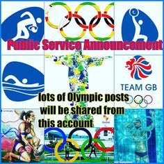 Public Service Announcement. This account will mainley be sharing Olympic posts for the next few weeks :-) and will be supporting Team GB and Team Zim #sorrynotsorry #Olympics #rio2016 #teamgb #teamzim #swimming #gymnastics #weightlifting #olylift #rugby #rugby7s #exciteddotcom