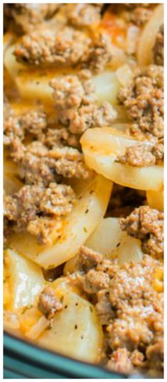 Slow Cooker Beef and Potato Au Gratin ~ An easy from scratch hearty meal!