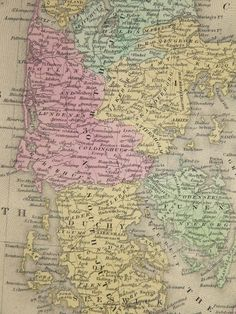 1853 Rare Antique Mitchell Map of Denmark by OldMapsandPrints