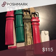 Michele Watch Band 4 brand new 16mm watch bands.. Two alligator & Two leather.. Individual price $40 each Michele Accessories Watches