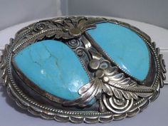 Vintage Navajo Sterling Silver Large Belt Buckle w/ 2 Large Turquoise Signed BB #BB