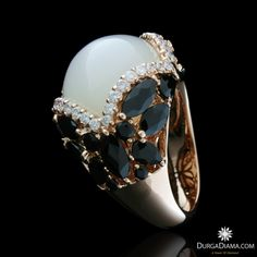 Moonstone 14.59 ct Onyx Diamond Ring | Rings | DurgaDiama.com