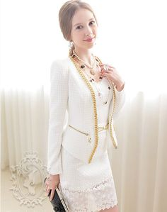 White with Golden Chains Slim Long Sleeve Zipper Pockets Short Suit(img 1)