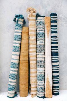 Blue and yellow handmade Pampa rugs