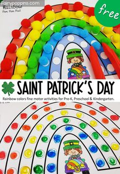 These FREE rainbow activities are a fun way to learn about colors on Saint Patrick's Day. They include a rainbow pom pom mat and dab a dot (bingo dauber) activity. Such a fun way to develop color recognition and fine motor skills! #rainbowactivities #pompommat #finemotor #finemotoractivities #preschool #prek #kindergarten #saintpatricksday Kids Motor, Fine Motor Activities For Kids, Early Learning Activities, Motor Skills Activities, Spring Activities, Kids Learning, Kindergarten Lesson Plans, Kindergarten Activities, Preschool Ideas