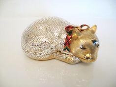 Vintage JUDITH LEIBER DESIGNER Crystal Cat Minaudiere Bag Purse