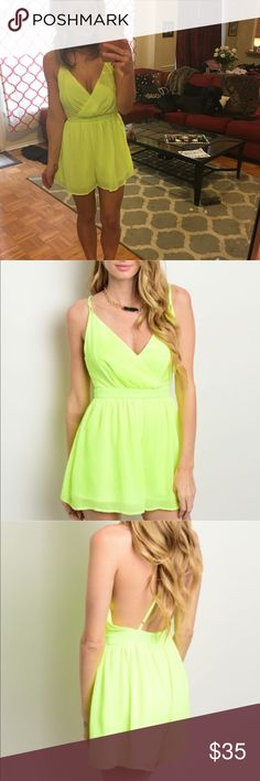Brand new neon romper criss cross strappy Brand new with tags beautiful yellow neon romper with criss cross adjustable straps in the back.  This is so adorable and is perfect to dress up with heels or dress down with sandals! In my picture I Am wearing a size small and i have 1 small 1 medium & 1 large available Make me an offer and I am willing to negotiate on price :) or bundle 2 items for 20% off! if you purchase an item and you are not satisfied , I will refund your purchase! So shop…