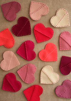 felt candy heart pockets