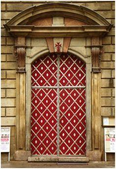 Detailed red door. Prague