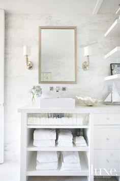 Modern White Marble Bathroom - Luxe Interiors + Design