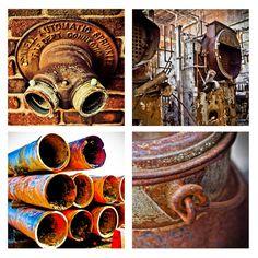 SALE Set of 4 Industrial Images steampunk rusty door brandMOJOimages, $45.00