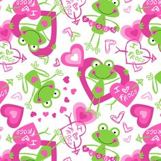 Easy Wash & Care Fabric- I Love Frogs Green & Pink, , hi-res Frog Wallpaper, Iphone Wallpaper, Frog Baby Showers, Frog Pictures, Frog Art, Paper Animals, Toddler Themes, Frog And Toad, Online Craft Store