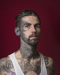 Gino Dartnall - 24 years old - started tattooing his own face at 18