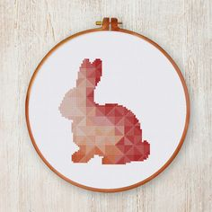 Geometric Bunny cross stitch pattern| Cute coral nursery animal counted chart| Modern nature design| Instant download pdf| Diy house decor