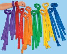 Lakeshore Wrist Ribbons - Set of 12 Our stretchy satin ribbons slide right onto children's wrists—keeping their hands free to dance, wave, clap and more! The 12 ribbons include 2 each of 6 bright colors; the machine-washable ribbons measure 15 in length. Beltane, Ribbon Wands, Crafts For Kids, Arts And Crafts, Neon Crafts, Praise Dance, Worship Dance, Lakeshore Learning, Movement Activities
