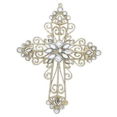 """Amazon.com: Sullivans 7"""" x 5.5"""" Gold Glitter Rhinestone Cross Ornament: Home & Kitchen"""