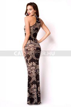 Estélyi ruha enyhén áttetsző, mintás - fekete-bézs  Anyaga: 95% Polyester, 5% Elasthan. Ára 11 990 forint. Több méret!  Származási hely: EU. Sexy Outfits, Lingerie, Formal Dresses, Elegant, Clothes, Fashion, Fashion Styles, Dresses For Formal, Classy