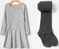 Girl GAP Lot Grey Jersey Ribbon Dress + Solid Tights Play School Cotton 4T 5T #GapKids #Everyday #GAP689045 #GAP693177