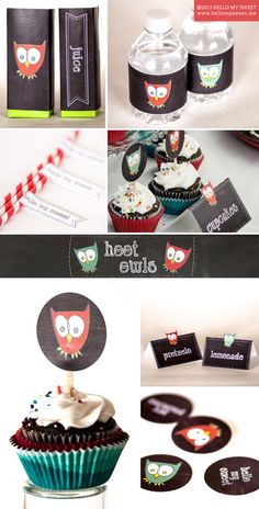 Owl Party Printables Decorations  Birthday Baby by HelloMySweet | www.hellomysweet.me  #chalkboard