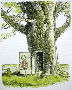 Pooh visits Christopher Robin's home