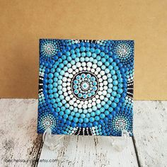 Dot Painting, Aboriginal Art, small Original Water Art painting, acrylic paint on canvas board, blue decor, 10cm x 10cm