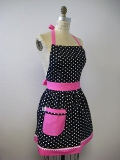 Retro Apron Polka Dot Black and White with HOT Pink by Boojiboo