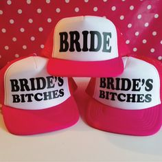 Set Of 5 Bachelorette Party Trucker Hats. 1 Bride Hat. 4 Bride's Bitches Hats. Hen Party Hats. Wedding Party Hat. Snapback. by SoPinkUK on Etsy