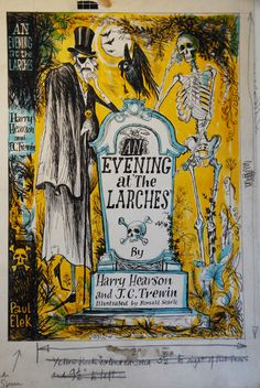 Harry Hearson and J. C. Trewin, An Evening at the Larches, Published by Paul Elek, 1951. Original drawing for the jacket by Ronald Searle.