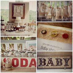 Burlap and Lace Baby Shower with So Many Cute Ideas via Kara's Party Ideas KarasPartyIdeas.com #burlapandlace #genderneutralbabyshower #dess...