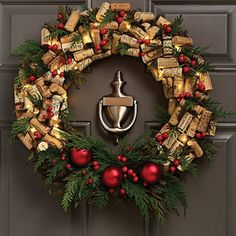 Pre-Lit Wine Cork And Berries Holiday Wreath - The Green Head. Wine Cork Wreath, Wine Cork Crafts, Pre Lit Wreath, Door Wreath, Grapevine Wreath, Wine Decor, Christmas Wine, Holiday Wreaths, Winter Wreaths