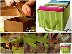 DIY Cardboard and Fabric Storage Tote organizer.these would be awesome in a craft room Diy Storage Totes, Tote Storage, Fabric Storage, Storage Boxes, Storage Ideas, Easy Storage, Storage Containers, Diy Totes, Creative Storage