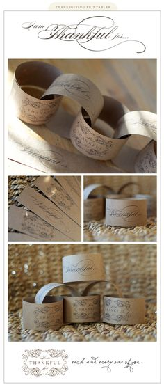 {diy Wedding Ideas} Kraft Paper Printable Napkin Rings I think this could be used for a Thanksgiving idea. Thanksgiving Crafts, Thanksgiving Decorations, Fall Crafts, Holiday Crafts, Holiday Fun, Thanksgiving Table, Hosting Thanksgiving, Thanksgiving Celebration, Thanksgiving Traditions