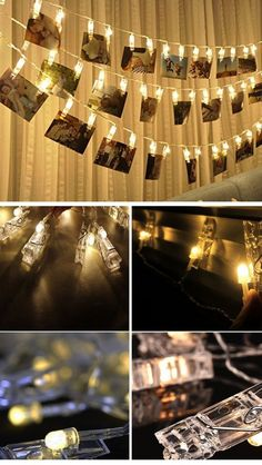 30 LED Photo Clips String Lights for Hanging Photos | Easy Tumblr Decor Bedroom Ideas for Teen Girls | Cheap and Easy Bedroom Decorating Ideas