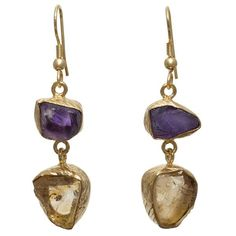 Gold-plated Brass Amethyst & Citrine Rough cut Gemstone Handmade Earringshttps://sitaracollections.com/collections/goldplated-jewelry/products/gold-plated-brass-amethyst-citrine-dangle-earrings