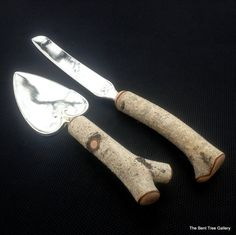 Birch Cake Server and Knife from a Real by TheBentTreeGallery
