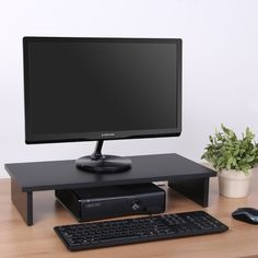 Computer Monitor Riser 4.7'' High 23.6'' Wide Monitor Stand Wooden Desktop Stand #fenge #Modern