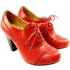 Womens Lace Up Brogue Ankle Shoe Boots Red: Amazon.co.uk: Shoes & Bags