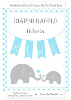 Free Pastel Aqua Blue Dotted Elephant 8x10 Diaper Raffle Ticket Sign