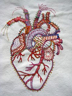 human heart-awesome embroidery skills here